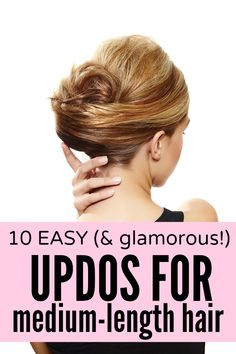 ) updos for medium-length hair Whether you're looking for something casual, dressy, or ultra-formal, this collection of easy updo tutorials for medium-length hair has you covered! My Hairstyle, Pretty Hairstyles, Easy Hairstyles, Office Hairstyles, Anime Hairstyles, Stylish Hairstyles, Hairstyles Videos, School Hairstyles, Braided Hairstyle