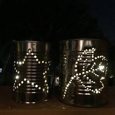Tin can lanterns Tin Can Lanterns, How To Make Lanterns, Lantern Making, Shot Glass, Canning, Tableware, Can Lanterns, Dinnerware, Tablewares