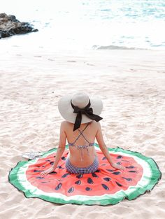 watermelon circle beach towel / blanket + navy gingham bikini on Wailea beach, Maui Hawaii