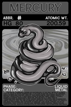 Scygon Elemental Card- Mercury by Lucieniibi on DeviantArt Element Chemistry, Chemistry Lessons, Science Chemistry, Physical Education Games, Health Education, A Level Biology, Mythical Creatures Art, Animal Adaptations, Liquid Metal