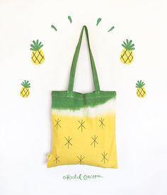 Ananas-Stoffbeutel - Baumwoll - Canvas-Umhängetasche - wiederverwendbare Einkaufstasche - 100 % Bio - Fairtrade - Frucht Print - Vegan Beutel