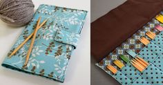(for needle holder lining) Crafty Avocado: Double Point Needle Case Diy Knitting Needle Case, Diy Knitting Needles, Double Pointed Knitting Needles, Double Knitting, Easy Sewing Projects, Knitting Projects, Sewing Hacks, Knitting Patterns, Sewing Patterns