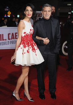 In a Giambattista Valli Haute Couture dress with George Clooney at the Hail Caesar! Los Angeles premiere.