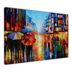 Night umbrellas oil painting by Leonid Afremov re-printed on canvas, stretched and wrapped around a wooden frame.