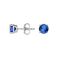 18K White Gold Sapphire Stud Earrings (5mm), top view