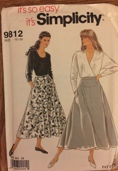 """HTF VTG 9812 Simplicity (1990) misses' skirt.  Size 10 to 20, Waist 25"""" to 34"""".  Complete, unused, FF. Excellent condition. by ThePatternParlor on Etsy"""