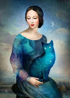 """ Night Cat "" by Christian Schloe and like OMG! get some yourself some pawtastic adorable cat apparel!"