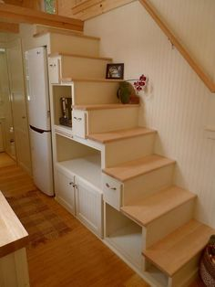 "Ynez"" great storage stairs, note fridge AND closet at the end. There is another closet across the aisle."