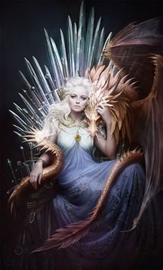 Daenerys on the Iron Throne: Magnificent Digital Painting by Melanie Delon   #gameofthrones #asoiaf #GOTSeason4