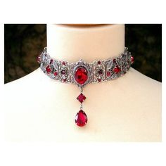 Red Gothic Choker Victorian Swarovski Bridal Silver Choker Bridal... ❤ liked on Polyvore featuring jewelry, necklaces, bridal jewelry necklace, bridal choker necklace, red choker necklace, victorian necklace and gothic chokers