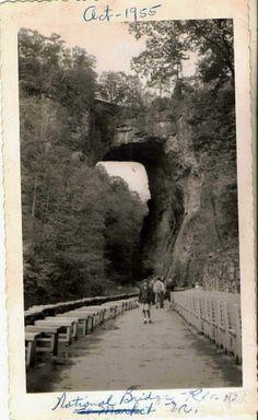 Old Antique Vintage Photograph of the Natural Bridge, Rockbridge County, Virginia 1955. #loveva