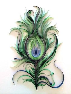 ashley chiang of paper liberated takes quilling to a whole new level! (Quilled Peacock Feather by Ashley Chiang) Arte Quilling, Quilling Paper Craft, Peacock Quilling, Quilled Roses, Quilling Comb, Quilled Paper Art, Paper Quilling Designs, Diy Paper, Paper Crafts