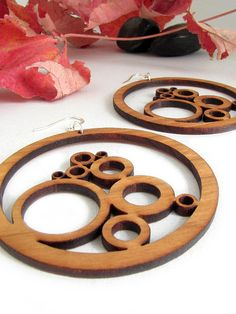 Wild Cherry Wood Bubble Earrings - Sustainable Harvest Wisconsin Wood . Timber Green Woods