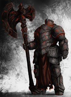 Juggernaut: former mercenary killed by holy knights, now brought back and is the heavy armored killer with enchanted armor and weapon with the heat of lava and fire. Fantasy Armor, Dark Fantasy Art, Medieval Fantasy, Fantasy Character Design, Character Art, Game Character Design, Character Concept, Armor Concept, Concept Art