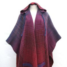 On Reserve Vintage 60s Hand Knit Poncho / Pink, Blue, Red Southwest Sherpa Shawl Heavy Hand Woven Wool Coat / One Size Fits All. $150.00, via Etsy.