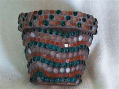 """Flower Pots! 8"""" clay pot with glass marbles and mini tiles – Johanna ..."""