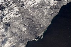 Toronto in snow, from International Space Station - Chris Hadfield /NASA Chris Hadfield, International Space Station, Space Photos, Happy Trails, Space Gallery, Latest Breaking News, Aerial View, Toronto, Cool Photos