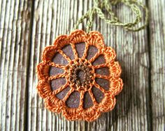 Crocheted Rock River Rock Necklace Pendant by TheTreeFolkHollow