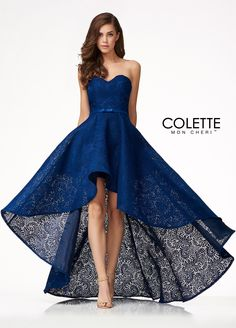 Colette for Mon Cheri CL18275 - Step out in style wearing this classic high-low lace dress at your next formal occasion! This versatile high-low lace dress provides a short party look in the front and a long formal look in the back. It also has a super flattering sweetheart neckline and a slimming waistband. You can't go wrong with this fun yet sophisticated style!