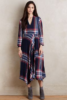 Just got this dress and can't wait to wear it for Thanksgiving - and then to work!  Super comfy!  Tartan Surplice Dress #anthropologie
