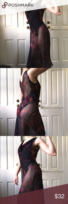 Sheer Black Floral Maxi Dress Absolutely in awe of this sheer black floral maxi dress. Drapes your body beautifully and is so sexy and stunning. In great condition, should fit a small or a medium. Not Free People Free People Dresses Maxi