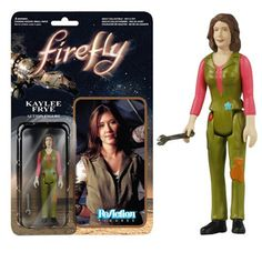 This is a Kaylee Frye Firefly action figure that is produced by Funko. The Kaylee Frye Firefly action figure is 3 3/4 inches in scale and part of Funko's retro style throwback action figures called Re