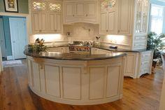 Kitchen Remodel - antique white glazed cabinets, soapstone countertops, oak flooring