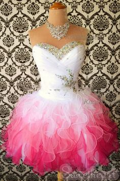 Sweetheart Beaded Red Gradient Colored Organza Short Prom dress/Tutu Prom dress  This dress can be custom made, both size and color can be custom made. Custom size and color made will charge for no extra. If you need a custom dress, please send us messages for your detail requirements.  For c...