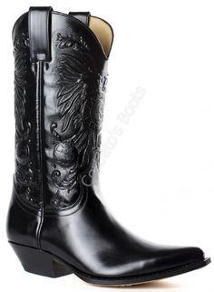 Corbeto's Boots   1649 Pico Florentic Negro   Bota cowboy Sendra piel brillante negra para hombre, elegancia cowboy   Sendra boots shiny black cowboy boots for men, true cowboy elegance.