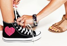 Sequined Chucks are a straight shot to our heart. #PINKHeartsBling all-things-pink