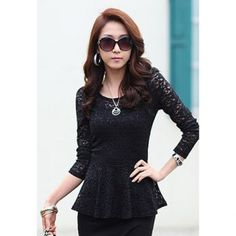 Cheap Wholesale Ruffle Slimming Long Sleeve Lace Twinset Women's Blouse (BLACK,S) At Price 9.50 - DressLily.com