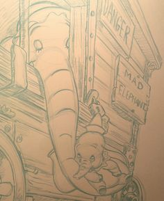 """2015 Dumbo Drawing 2 of 3: """"Miss you"""" (Pencil sketch close-up) Close-up of completed blue-line pencil sketch of the second large (18x24 in) Dumbo drawing, featuring Dumbo and his mother. #arielsartwork #dumbo #baby #mother #mom #disney #cartoon #animation #sketch #pencil #blueline #nonphotoblue #drawing #art"""
