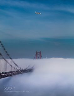 Bridge to Nowhere! by Ricardo_Mateus  sky landscape fog city travel bridge airplane lisbon portugal misty suspension bridge suspension con
