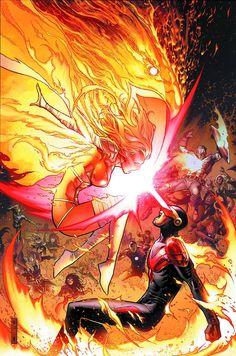 Avengers vs X-Men by Jim Cheung * Auction your comics on… Marvel Vs, Marvel Comics Art, Marvel Girls, Marvel Heroes, Marvel Cyclops, Cyclops X Men, Marvel Couples, Captain Marvel, Marvel Comic Character