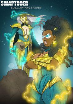 Swaptober Black Lightning and Radian by Shy-Green on DeviantArt Black Anime Characters, Comic Book Characters, Black Girl Art, Black Women Art, Character Art, Character Design, Dope Cartoons, Black Batman, Comic Book Girl