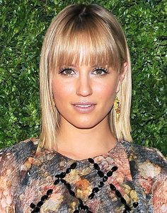 Dianna Agron    Blunt bangs that are a tad longer at the ends, like the fringe worn by the Glee actress On Dec. 4 to the NYC screening of In Vogue: The Editor's Eye, are a great way to frame the face and soften the look.