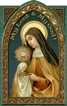 Clare Holy Card (embossed) Beautiful Holy card of St. On the back is a quote fromthe first letter to Agnes of Prague. Roman Church, Roman Catholic, Blessed Sunday, Blessed Mother, Juan Pablo Ll, Clare Of Assisi, Catholic Pictures, St Clare's, Pinturas Disney