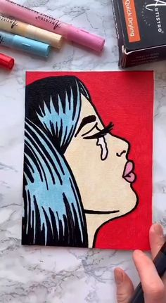 Pop art painting on canvas - Art Supplies from Artistro Pop Art Drawing, Drawing Step, Art Drawings Sketches, Small Canvas Art, Mini Canvas Art, Canvas Draw, Black Canvas Paintings, Acrylic Painting Canvas, Paint Markers