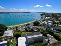 Elevated view of Bucklands Beach with a view of Rangitoto Island in the background, Auckland, New Zealand