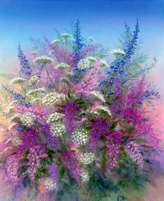 Arnold Alaniz — Lilacs and Lace Beautiful Flowers, Beautiful Pictures, Paintings I Love, Arte Floral, Learn To Paint, Floral Watercolor, Flower Art, Decoupage, Art Gallery