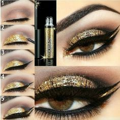 Gold Glitter EYE make-up | The place where you craft your beauty..