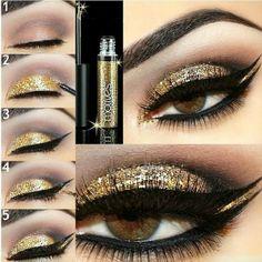Gold Glitter EYE make-up