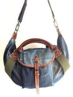 Old Nudie jeans DIY denim bag (front) ....