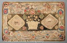 An American Wool Hooked Rug, c. 1850-1890, rectangular, with a central flower pot flanked by diamond-shaped panels, within a border of hearts and scrolling sprays, 68 1/2 in. x 39 in., Neal Auction Co., Live Auctioneers