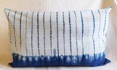 Unique shibori resist technique, hand-dyed with natural indigo using hand-weave cotton-linen blend.  37cm x 54cm  Cover only.