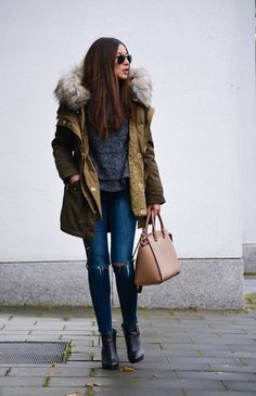 Olive Coco Around The Corner Faux Fur Collar Hooded Parka