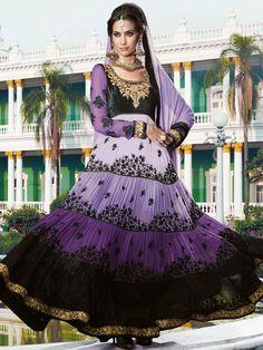 Shaded Lavender Anarkali Salwar Suit