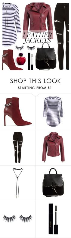 """""""Cool-Girl Style: Leather Jackets"""" by dora04 ❤ liked on Polyvore featuring Nine West, Topshop, Rebecca Minkoff and Gucci"""