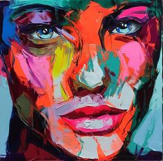 Artist Francoise Nielly sculpts explosive images with a trademark palette knife technique that aggressively strokes oil paint on canvas.