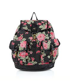Red Pattern (Red) Black and Red Floral Tapestry Backpack  | 285457669 | New Look